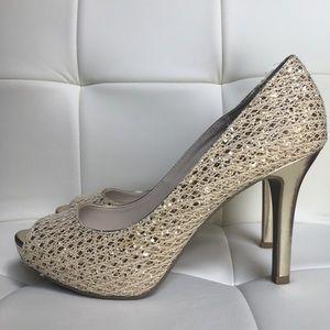 Audrey Brooke Quillian Champagne Sparkle Heels